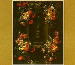 Cartouche met een stenen fontein omgeven door bloemen