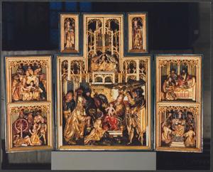 De Maagschap van Anna, martelaarschap van de HH. Catharina (binnenzijde linkerluik); Aanbidding der Wijzen, de kroning van Maria (middendeel); Dood van Maria, De Mis van Gregorius (binnenzijde rechterluik); De HH. Barbara (binnenzijde linker bovenluik); De HH. Catharina (binnenzijde rechter bovenluik)