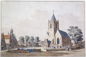 De Markt in Vlaardingen met het stadhuis en de Grote of Willibrorduskerk