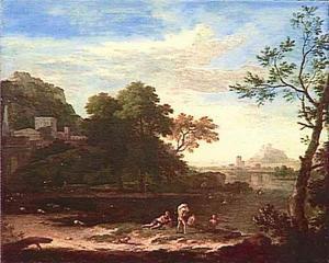 Heuvelachtig riviergezicht met badende figuren