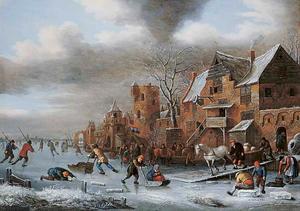 Winterlandschap met ijsvermaak aan de voet van een stadsmuur