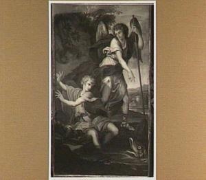 Tobias schrikt, terwijl hij zijn voeten wast, van een grote vis; de engel beveelt hem de vis te vangen (Tobit 4-6)