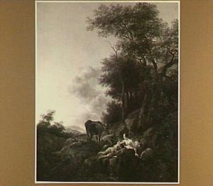 Heuvellandschap met nimf en sater