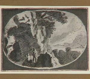 Berglandschap met man en vrouw voor een grot