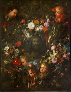 Krans van bloemen, vruchten en engelenkopjes rondom een Christuskop