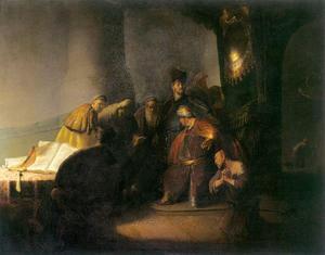 Judas brengt de zilverlingen terug (Mattheus 27:3-5)
