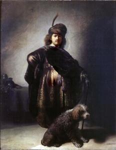Zelfportret in oosterse kleding met poedel