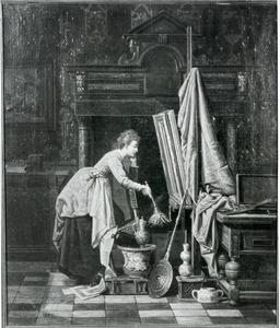 Dienstmeisje in schilderstalier