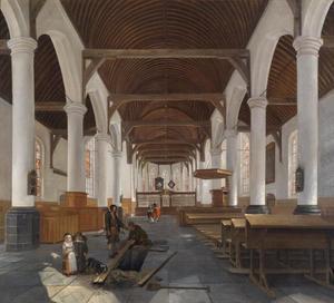 Interieur van een barokke kerk, waarschijnlijk de Oude Kerk in Amsterdam
