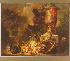Vruchtenstilleven bij een tuinvaas in een park; op de achtergrond een jonge Moor die een papegaai een vrucht aanbiedt