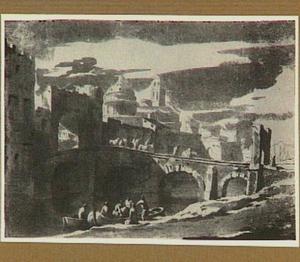 Gefantaseerd stadsgezicht met Romeinse gebouwen