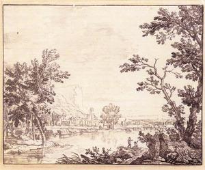 Heuvelachtig rivierlandschap met figuren, op de achtergrond een dorp
