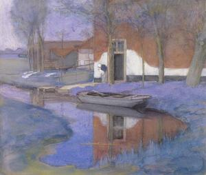 Farm buildings near a canal with small boat