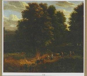 Boslandschap met reizigers en herders onderweg