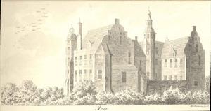Het huis De Marsch bij Zutphen van de achterzijde