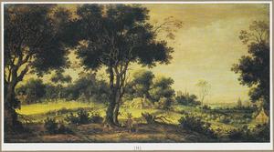 Landschap met wandelaars