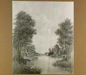 Huizen aan een rivier, in de verte een stad