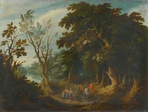 Reizigers op een bospad