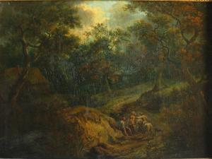 Boslandschap met rustende figuren en een ruiter