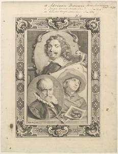 Portretten van Adriaen Brouwer (ca. 1605-1638), Jürgen Ovens (1623-1678) en Cornelis Bega (....-1664)