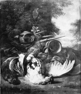Jachtstilleven met dode vogel en jachtgerei