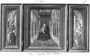 Portret van een stichter en de H. Michael (links); tronende Maria met kind (midden); de H. Catharina (rechts)