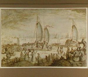 De zeilwagens van prins Maurits van Nassau op het strand van Scheveningen