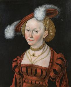 Jonge vrouw met pluimhoed