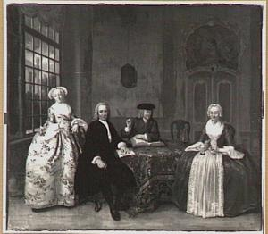 Portret van Johanna Catharina van den Broek (1721-1788) met haar familie