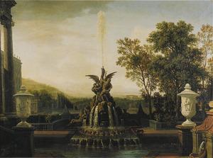 Gezicht op paleistuin met een rijk geornamenteerde fontein