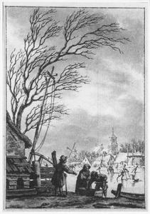 Winterlandschap met figuren op het ijs bij een stad