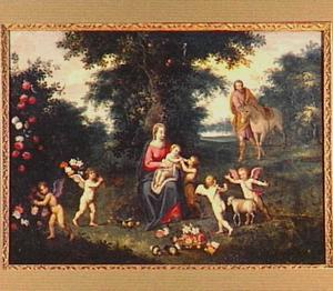 De rust op de vlucht naar Egypte met Johannes de Doper als kind en engelen