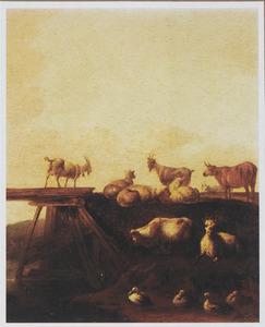 Landschap met vee en eenden bij een brug