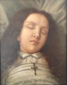 Portret van een overleden jonge vrouw