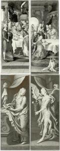 De besnijdenis (binnenzijde links), de opdracht in de tempel (binnenzijde rechts); Maria van de annunciatie (buitenzijde links), de engel van de annunciatie (buitenzijde rechts)