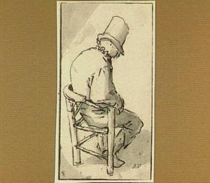 Zittende boer, gezien op de rug