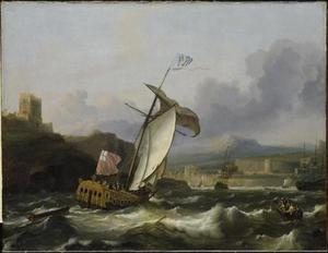 Schepen varen een zuidelijke haven binnen
