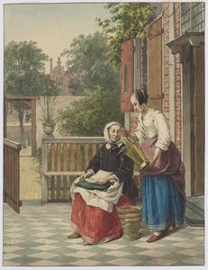 Dienstmeid toont zittende vrouw een emmer met vis, op een binnenplaats