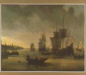 Gezicht op de Maas bij Rotterdam; links de Boompjes, de Oude Haven met de Oude Hoofdpoort en het Haringvliet