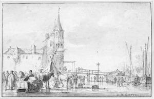 Wintergezicht bij de Rotterdamse poort te Delft, vanuit het noordwesten