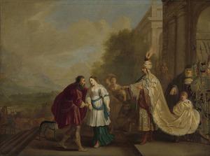 Farao geeft Sarai [Sara] aan Abram [Abraham] terug (Genesis 12:18-20)