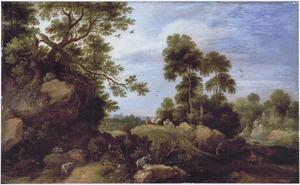 Landschap met herten, geiten en reizigers