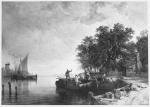 Vrachtschuiten op de Maas in de omgeving van Dordrecht