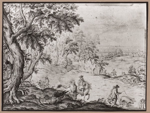 Landschap met ruiters en boerenpaar met varkens