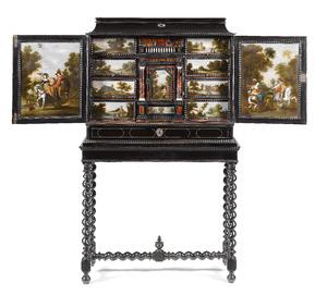 Ebbenhouten kunstkastje ingelegd met ivoor en schildpad, beschilderd met twaalf gestoffeerde landschappen