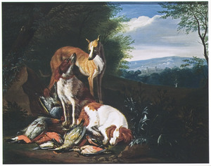Drie honden bij jachtbuit van dood gevogelte