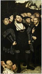 Groepsportret met Johan Frederik de Grootmoedige, keurvorst van Saksen (midden), Maarten Luther (links), Melanchton (rechts) en andere hervormers