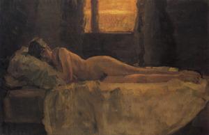 Liggend naakt in bed met open raam