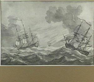 Drie zeilschepen op woelige zee