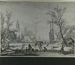 Schaatsers buiten een dorp